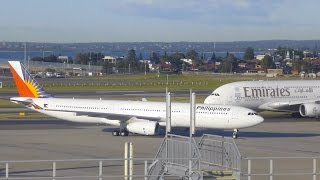 Philippine Airlines A330 as PR211 lands at Sydney Airport