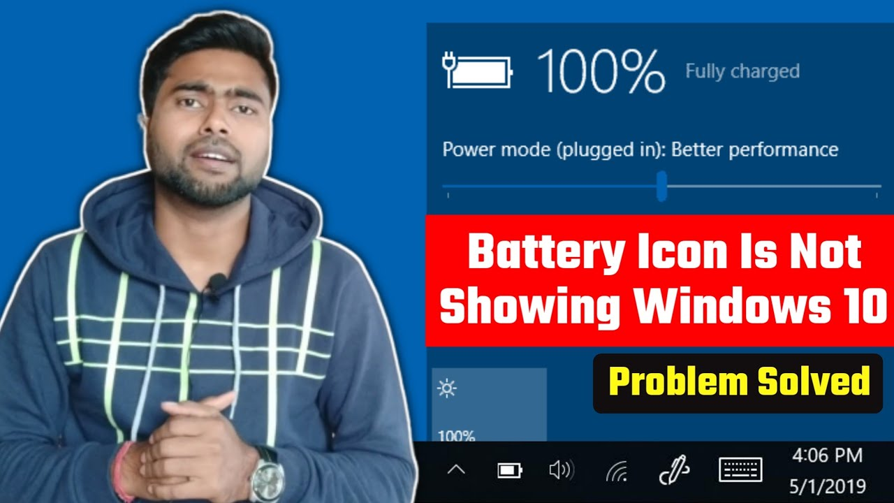 Battery Icon Disappeared From Taskbar – Battery Icon Not Showing in Windows 10- Problem Solved Hindi