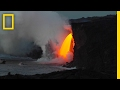 """Spectacular Lava """"Waterfall"""" Pours Into the Ocean   National Geographic"""