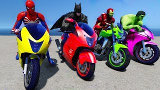 Spiderman VS Batman VS Iron Man VS Hulk - Super Heroes Bike Race