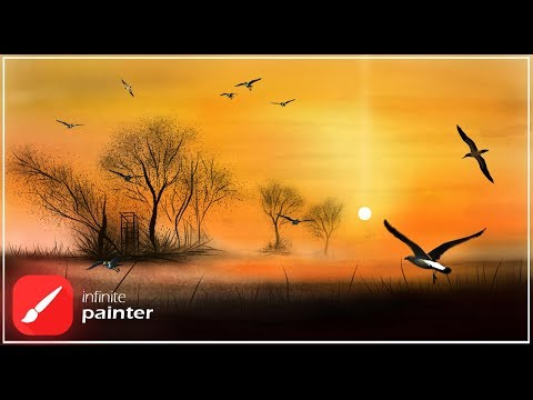 Infinite Painter|Nature LandscapeSilhouette fantasy Art|Digital Painting work flow|Digital arts2020