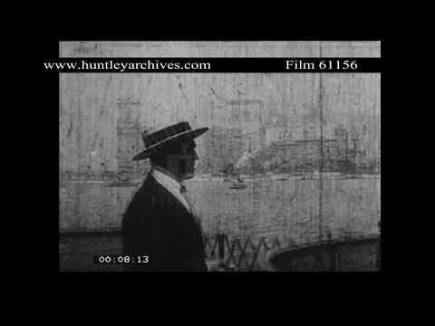 Man on ferry in New York harbour, U.S.A., 1920's.  Archive film 61156