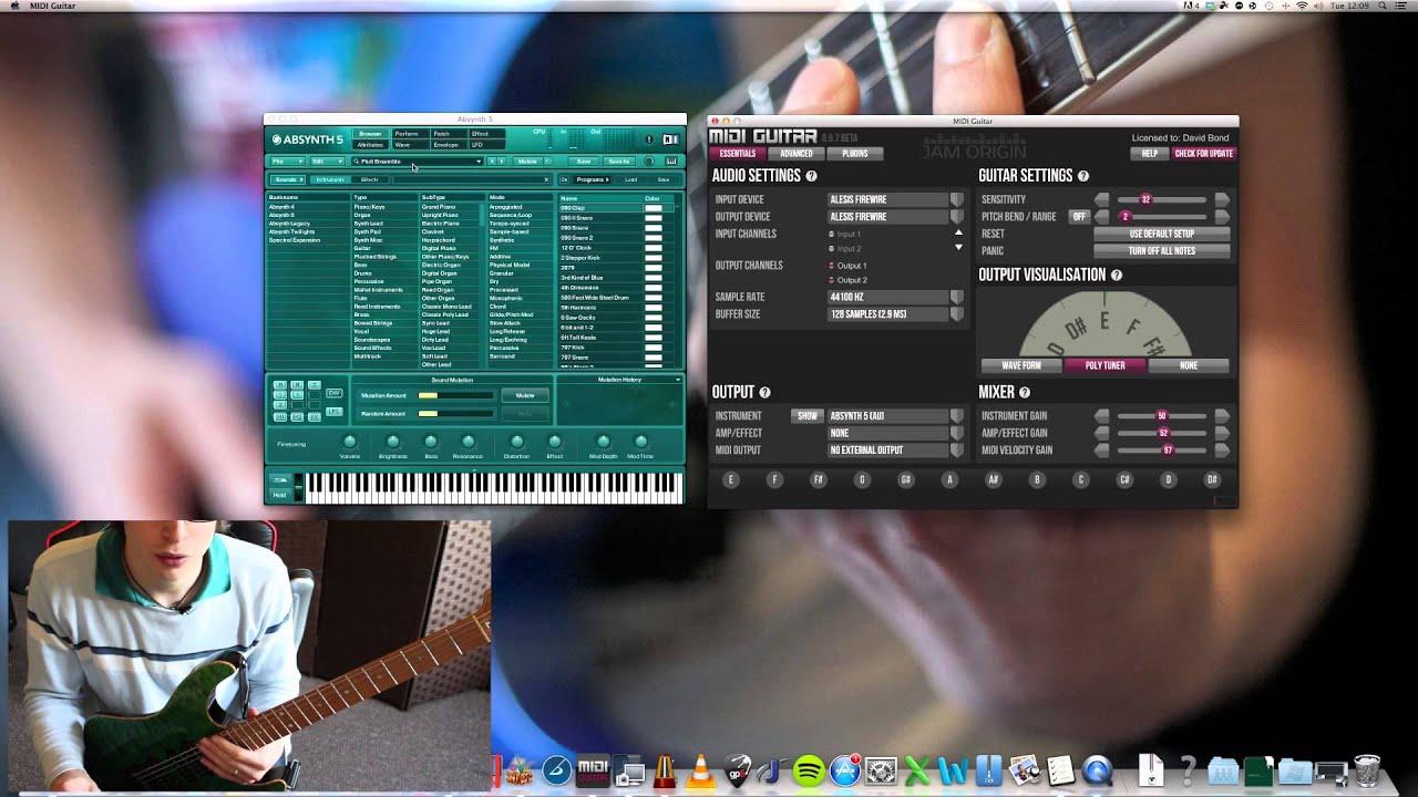 Midi Guitar - Jam Origin - Software Demo