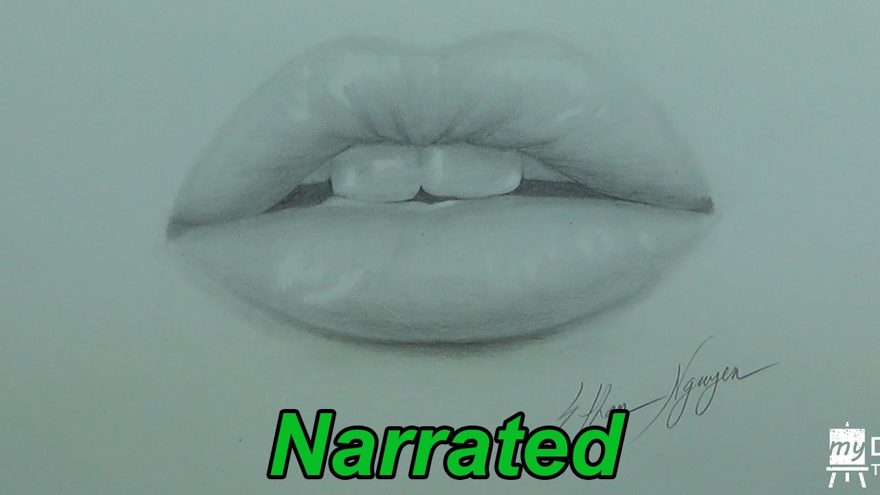How To Draw Realistic Lips Mouth Glossy Lips Narrated Youtube