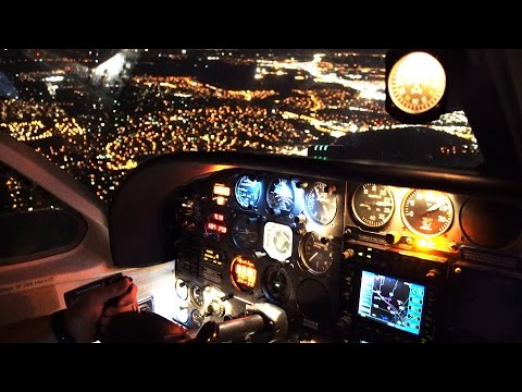 Flying a Private airplane at NIGHT!