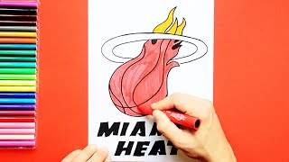 How to draw and color the Miami Heat Logo - NBA Team Series