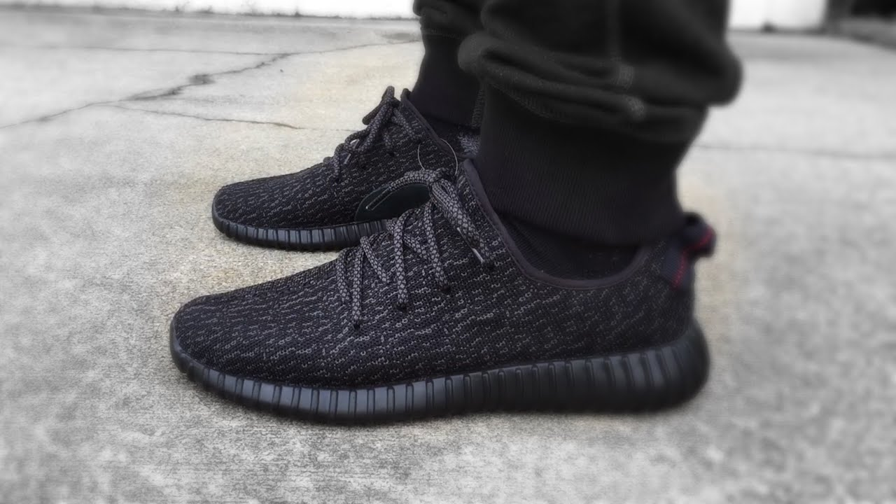 bcdf8d86f53 ADIDAS PIRATE BLACK YEEZY 350 BOOST ON FEET!!! - YouTube