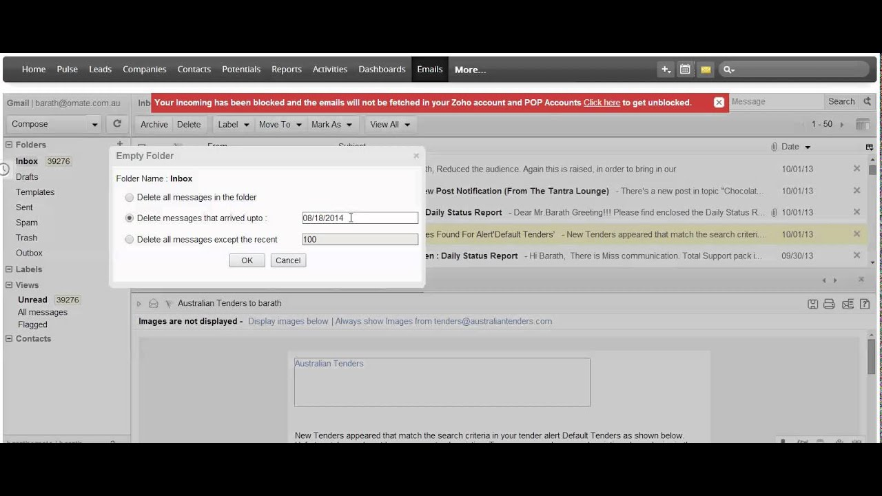 How To Empty or Archive Your Zoho Inbox