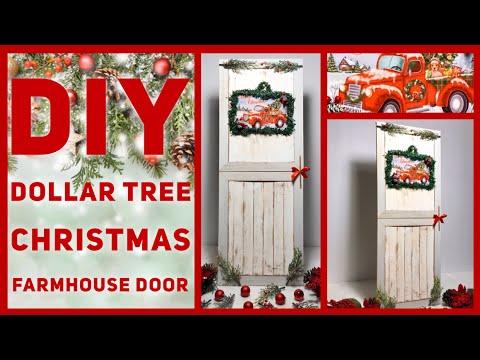 Dollar Tree DIY Red Truck Christmas Farmhouse Door Decor - Rustic Wall Decor - Christmas Ideas 2019