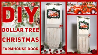 Dollar Tree DIY Red Truck Christmas Farmhouse Door Decor - Rustic Wall Decor - Christmas Ideas 2019