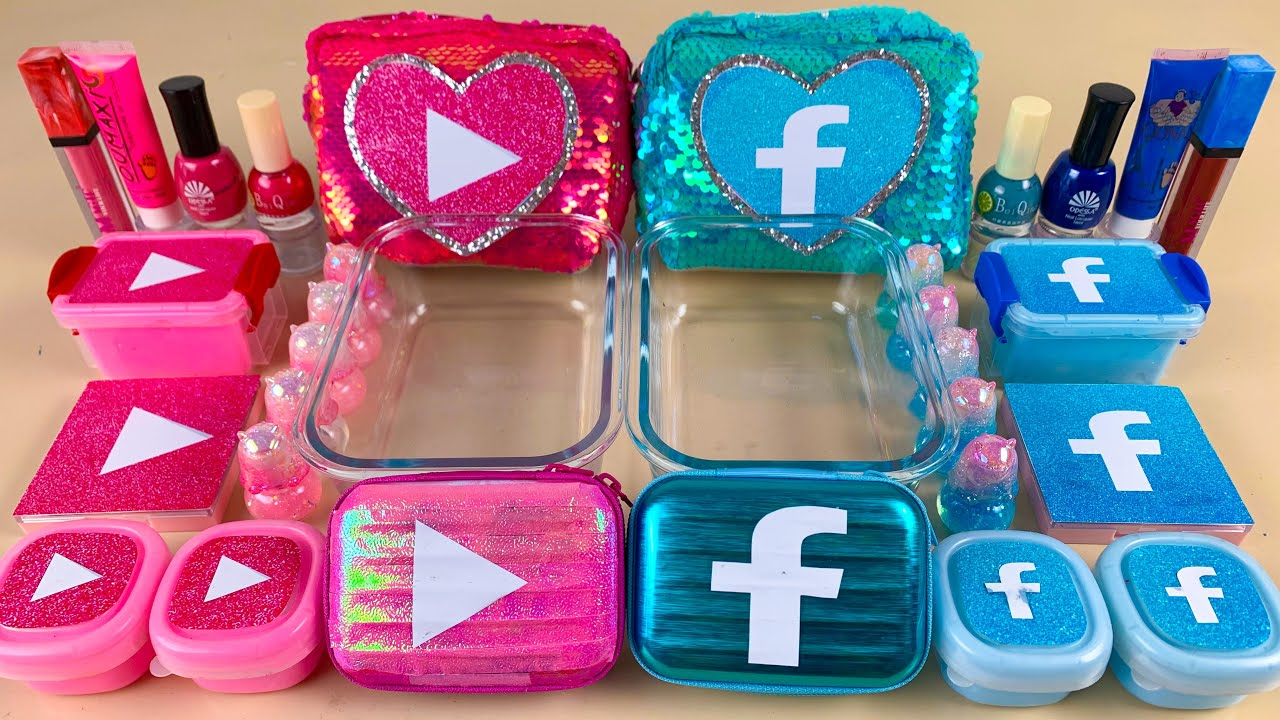 Pink Youtube vs Blue Facebook |Mixing Makeup,Eyeshadow,Glitter,Clay Into Slime💝Satisfying Slime