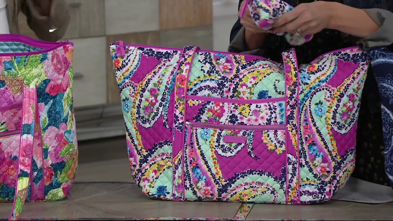 Vera Bradley Iconic Signature Miller Travel Bag w  Cosmetic on QVC ... df1ca1e03d