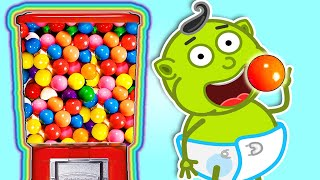 Lion Family   Plays with Sweets & Colorful Gumball Machine   Cartoon for Kids