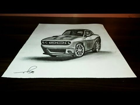 how to draw 3d challenger doghe - making a car on paper - YouTube