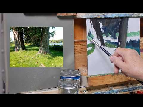 TomFisherArt 96 Two Trees and Lake Oil Painting Instruction