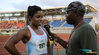 Natasha Hastings winner of the Womens 200m Dash at the CBBI