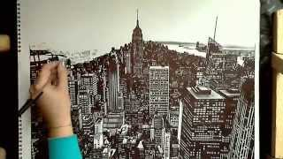 york drawing realistic easy manhattan getdrawings