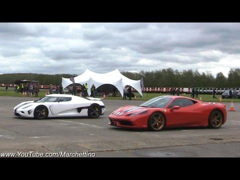 Koenigsegg Agera vs LaFerrari vs 918 Spyder vs 458 Speciale - Drag Racing