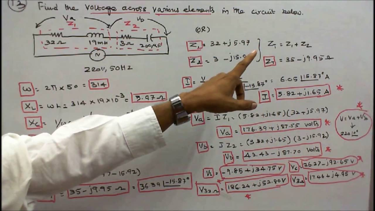 100 Problems In Ac Circuits Part 18 Five On Voltage Circuit Diagram Numericals Drop Calculation Youtube