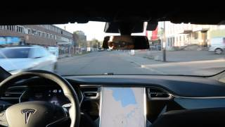 Tesla Autopilot 2 v17.11.10 on local road with curbs and poor markings