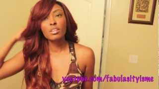 How to: Reddish Brown Wig with a Deep Side SWOOP Bang =) part 2 of 2