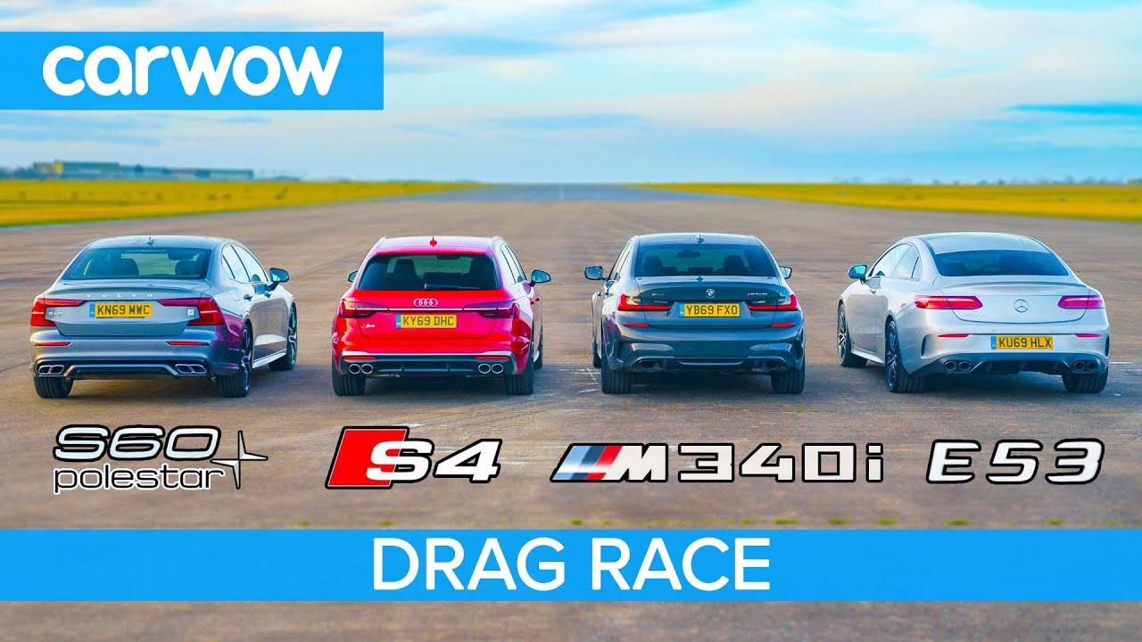 Download BMW M340i v Audi S4 v AMG E53 v Volvo S60 Polestar: DRAG RACE petrol v diesel v hybrid