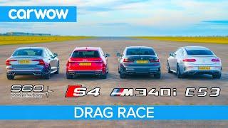 BMW M340i v Audi S4 v AMG E53 v Volvo S60 Polestar: DRAG RACE petrol v diesel v hybrid