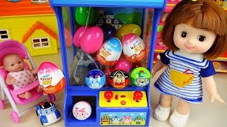 Poli crane Baby doll and Kinder Joy Surprise eggs toys