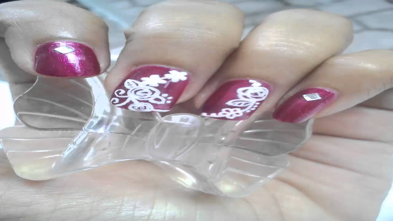 nail art in bali 2 floral - YouTube