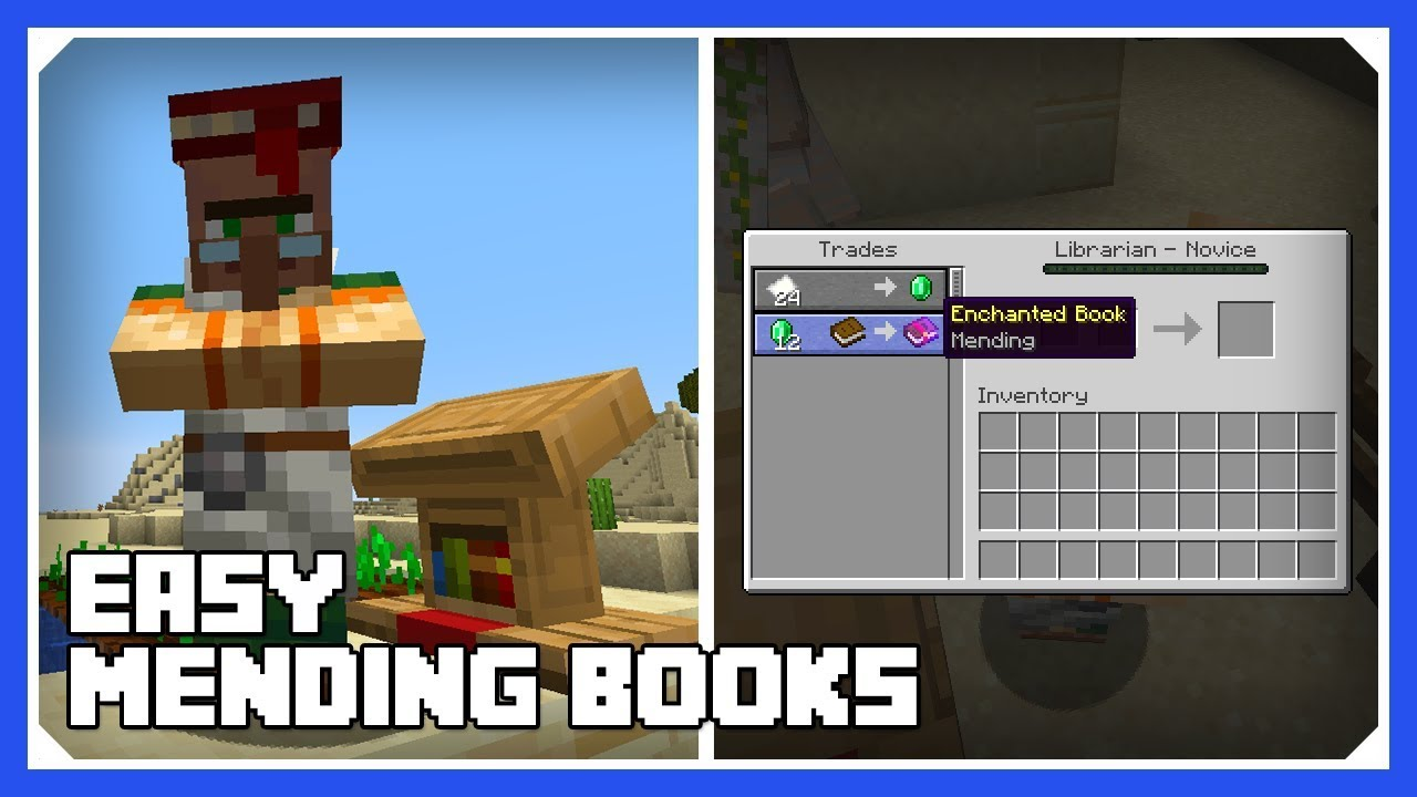 Minecraft 12.124 Easy Mending Books  How To Change Villager Professions!