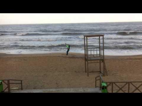 Daghestan kaitboarding on Caspian waves