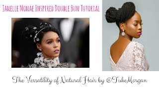 How to: Double Bun Tutorial for Natural Hair   Janelle Monae Hairstyle