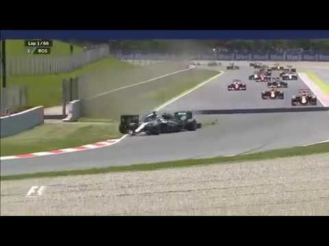 SKY F1 HD Hamilton VS Rosberg Spanish GP 2016 CRASH