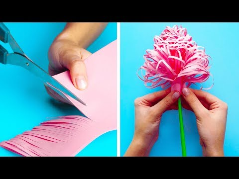 How to make quick flowers out of paper step by easy