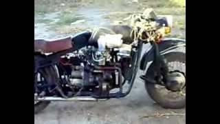 Мотоцикл с двигателем от ваз 1111 ока.mp4(Нечто! Ужас обретает форму! Долго планировал, разрабатывал и высчитывал чертежи, ждал запчасти у токарей,..., 2012-09-21T18:05:36.000Z)