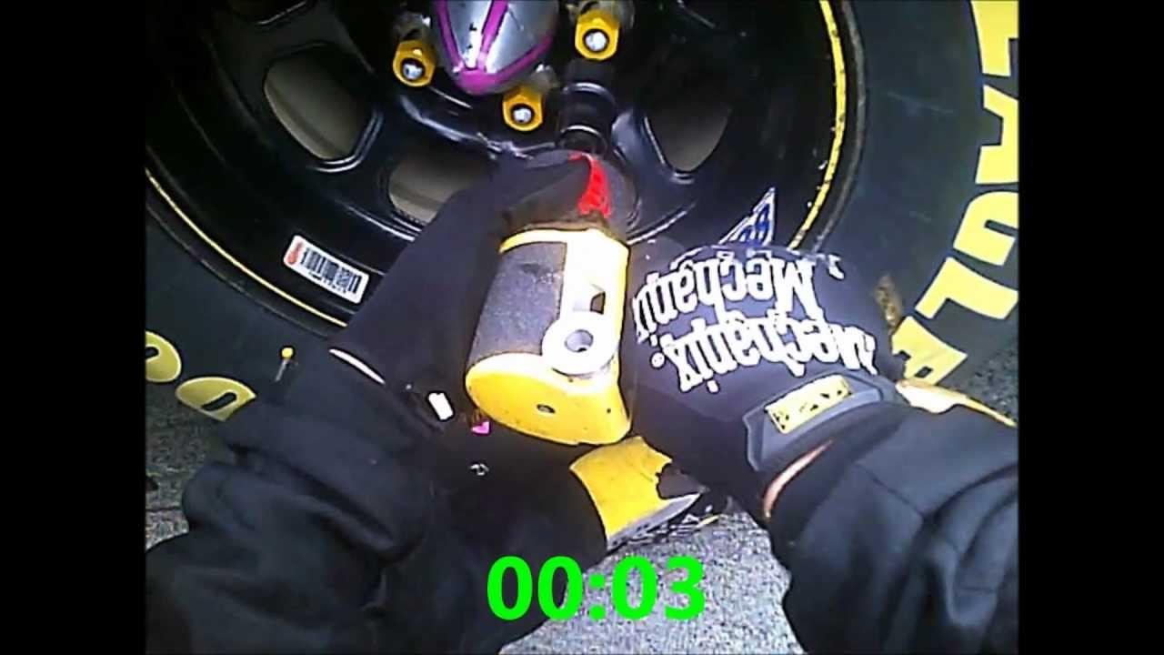 5 Second Tire Change - Daytona 500 - NASCAR Pit Crew Helmet Camera (Flaming rotor guy) - YouTube