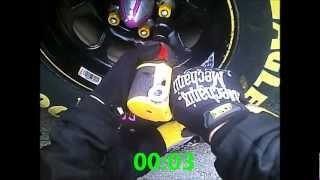 5 Second Tire Change - Daytona 500 - Nascar Pit Crew Helmet Camera (Flaming Rotor Guy)