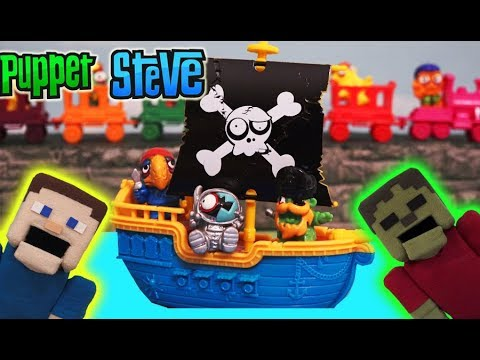Minecraft Puppet Steve Zomblings Series 3 Toy Zombie Pirate Blind Bag Monster Figures Unboxing