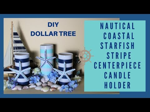 NAUTICAL | COASTAL | STRIPE BEACH STARFISH LED CANDLE HOLDER | WEDDING DIY DOLLAR TREE CENTERPIECE