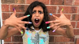 Kids pretend play Color ACRYLIC NAILS Prank!! funny video thumbnail