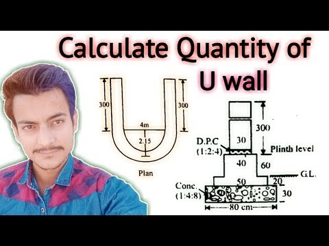 How to Calculate Quantity of U Wall in Urdu/Hindi | Quantity Survey | Civil Engineering