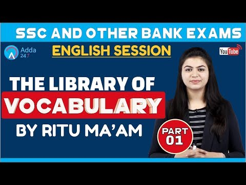 VOCABULARY | THE LIBRARY OF VOCABULARY PART 1 | SSC & BANK EXAMS | Ritu mam