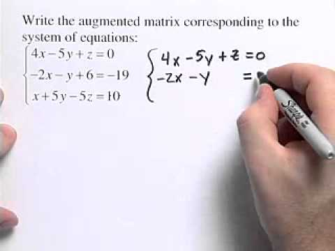 How To Write An Augmented Matrix  Youtube