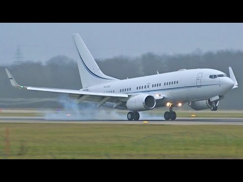 [FullHD] Kazakhstan Government Boeing 737-700(BBJ) landing & takeoff at Geneva/GVA/LSGG