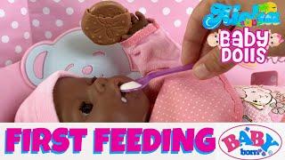 �👶�Baby Born Morning Routine & Feeding (Cereal & Juice), Potty Training! Dark Skin Baby Born Doll
