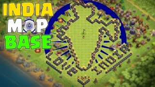Clash Of Clans | The Indian Base | Base For TH7,8,9,10,11,12 MAP OF INDIA IN COC 158 Walls Required