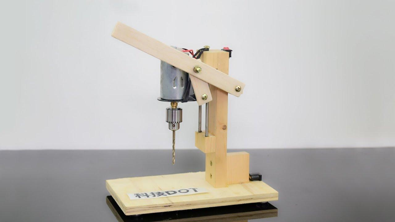 How To Make A Drill Press Machine Homemade Mini Drill 手工