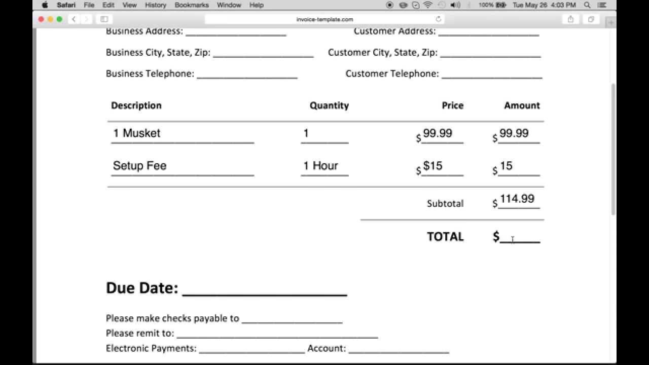 A Invoice Pertaminico - Create invoice for free for service business