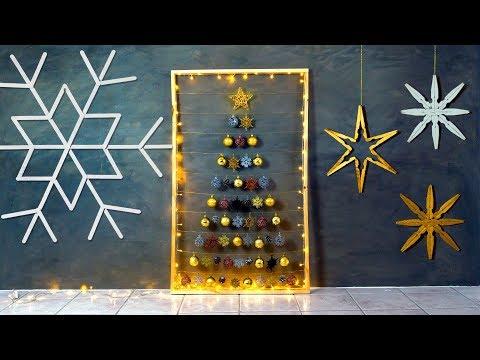 DIY de NATAL 🎄 3 DECORACÕES de PAREDE: Árvore, Floco e Estrelas