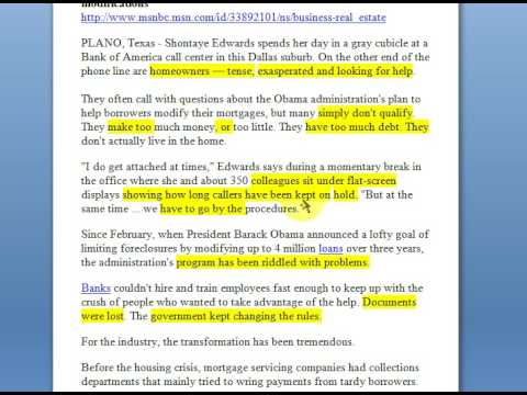 Loan Modification Truth From Bank of America - part 1